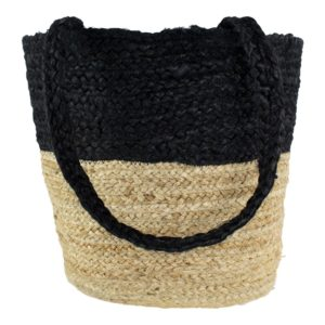 jute tas shopper zwart/naturel